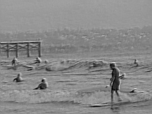 embossed black and white surfing pb pier